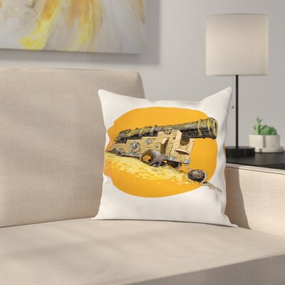 Old Marine Gun Carrier Square Pillow Cover Size: 16 x 16