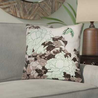 Enya Peonies and Butterfly Throw Pillow Color: Green, Size: 16 x 16