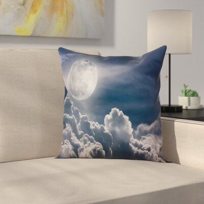 Modern Night Sky Full Moon and Clouds Square Pillow Cover Size: 24 x 24