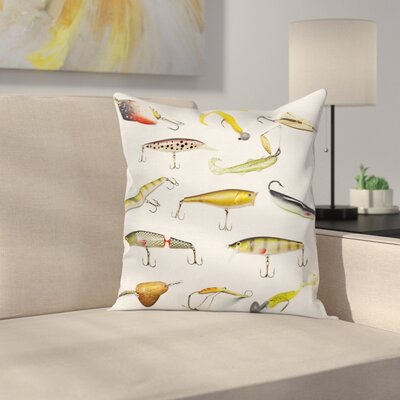 Fish Hunting Sea Animals Theme Square Pillow Cover Size: 18 x 18
