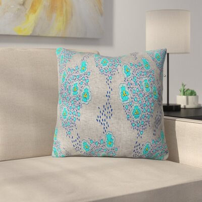 Boho Floral Throw Pillow Size: 16 H x 16 W x 4 D, Color: Turquoise