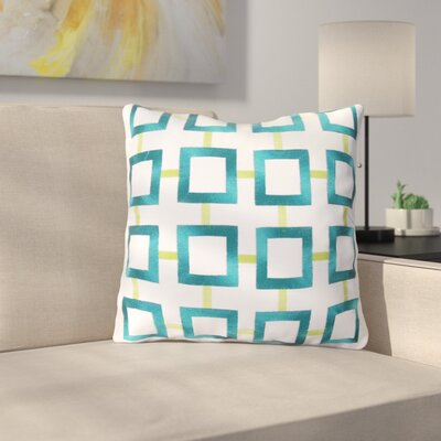 St James Square 100% Cotton Throw Pillow Color: Aqua