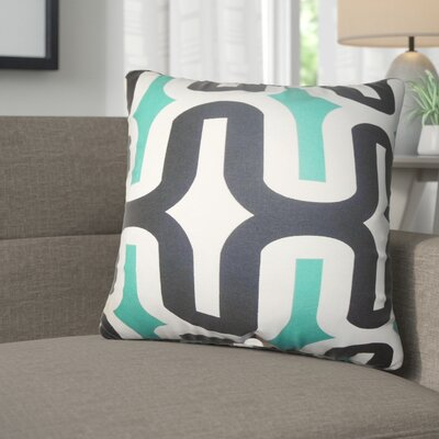 Angeline Geometric Square Cotton Throw Pillow Color: Jade