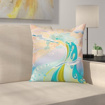Modern Decor Cartoon Like Waves Cushion Pillow Cover Size: 16 x 16
