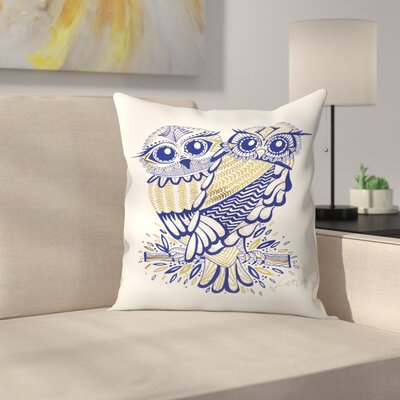Inked Owls Throw Pillow Size: 16 x 16