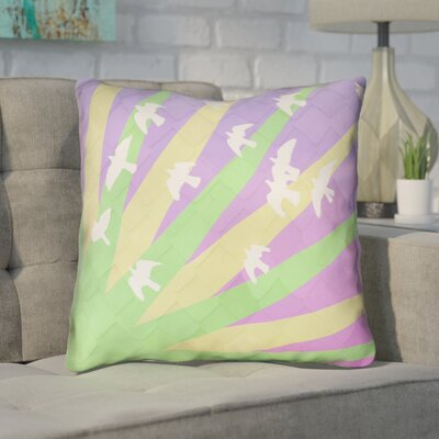 Enciso Birds and Sun Throw Pillow Color: Green/Yellow/Purple Ombre, Size: 14 H x 14 W