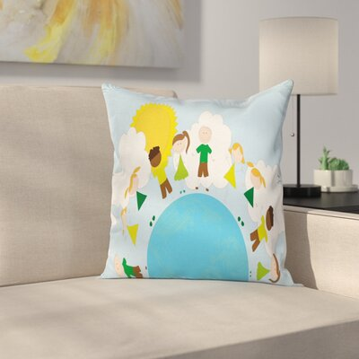 Smiling Kids on Planet Square Pillow Cover Size: 20 x 20