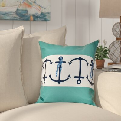Hancock Anchor Stripe Print Throw Pillow Size: 16 H x 16 W, Color: Green
