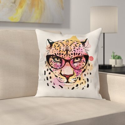 Elegant Trendy Hipster Leopard Square Pillow Cover Size: 24 x 24
