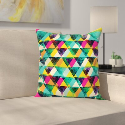 Vibrant Triangles Grunge Square Cushion Pillow Cover Size: 16 x 16
