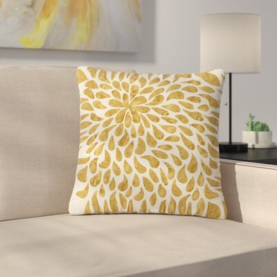 888 Design Abstract Golden Flower Outdoor Throw Pillow Size: 16 H x 16 W x 5 D