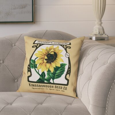 Swan Valley Sunflower Floral Outdoor Throw Pillow Size: 18 H x 18 W, Color: Taupe