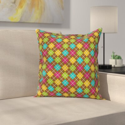 Bold Argyle Pattern Square Pillow Cover Size: 18 x 18