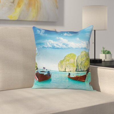 Boat Maya Bay Thailand Square Pillow Cover Size: 18 x 18
