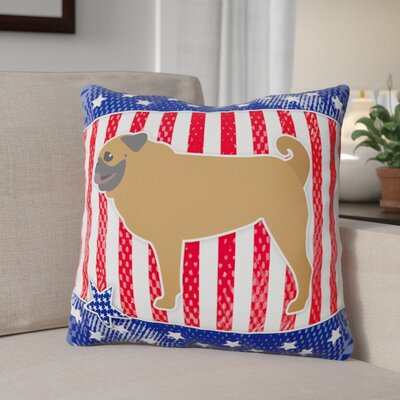 Patriotic USA Pug Indoor/Outdoor Throw Pillow Size: 18
