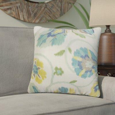 Willem Floral Cotton Throw Pillow Color: Blue