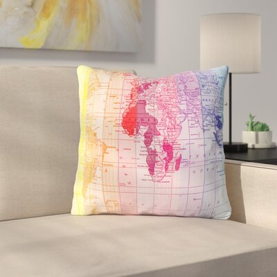 Rainbow World Map by Catherine Holcombe Throw Pillow Size: 16 H x 16 W x 3 D