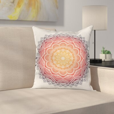 Geometric Mandala Orient Heart Square Pillow Cover Size: 18 x 18