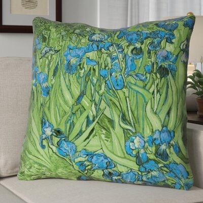Morley 26 x 26 Irises in Green and Blue Pillow - Spun Polyester Double sided print with concealed zipper & Insert Color: Green/Blue