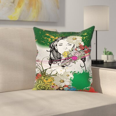 Tropical Flowers Spirals Cushion Pillow Cover Size: 18 x 18