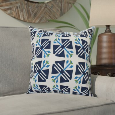Willa Jodhpur Ditsy Geometric Outdoor Throw Pillow Size: 18 H x 18 W, Color: White