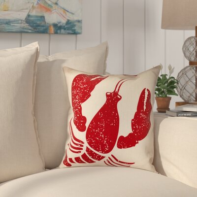 Hancock Lobster Coastal Throw Pillow Size: 18 H x 18 W, Color: Taupe/Beige