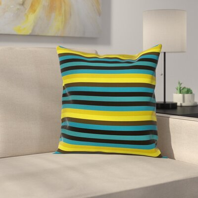 Striped Geometric Pattern Square Pillow Cover Size: 24 x 24
