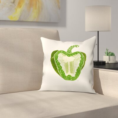 Green Pepper Throw Pillow Size: 16 x 16