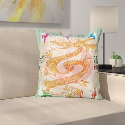 Dragon Asian Mythology Figure Square Pillow Cover Size: 16 x 16