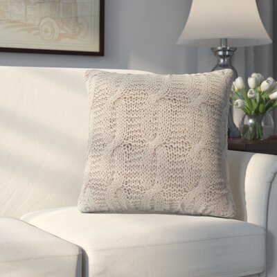 Broadway Village Cable Knit Cotton Throw Pillow Color: Beige