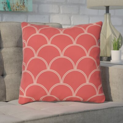 Brendan Throw Pillow Size: 26 H x 26 W x 7 D, Color: Coral / White