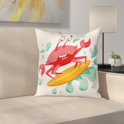 Caricature Crab Square Cushion Pillow Cover Size: 18