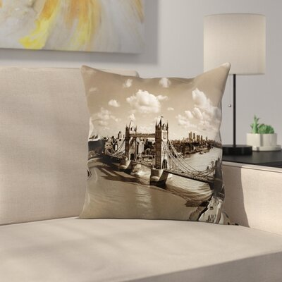 Travel Decor Tower Bridge Sky Square Pillow Cover Size: 16 x 16
