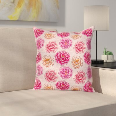 Romantic Rose Petals Square Pillow Cover with Zipper Size: 16 x 16