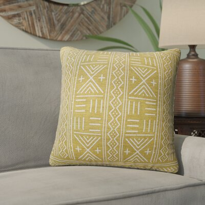 Bemelle Mud Cloth Geometric Throw Pillow Size: 18 H x 18 W, Color: Gold/ Ivory