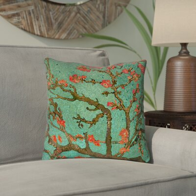 Lei Almond Blossom Throw Pillow Color: Green/Red, Size: 20 x 20