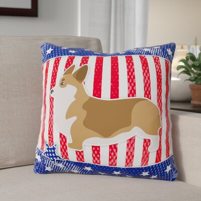 Patriotic USA Corgi Indoor/Outdoor Throw Pillow Size: 18 H x 18 W x 3 D