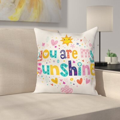 Kids Cartoon Happy Sun Heart Square Pillow Cover Size: 16 x 16