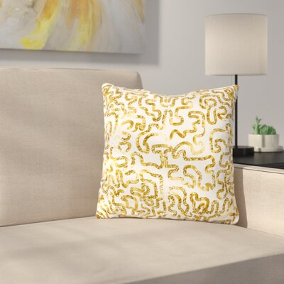 Squiggles by Anneline Sophia 16 Throw Pillow Size: 16 x 16, Color: Gold
