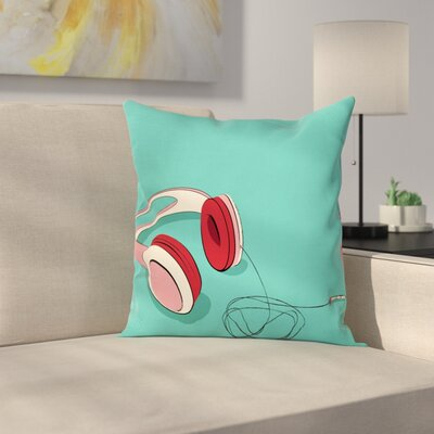 Cool Retro Earphones Square Cushion Pillow Cover Size: 16 x 16