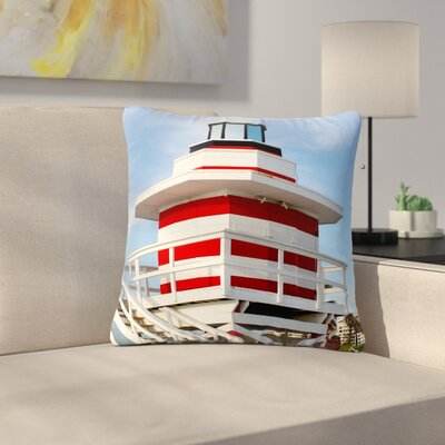 Philip Brown Lighthouse Lifeguard Stand Photography Outdoor Throw Pillow Size: 18 H x 18 W x 5 D