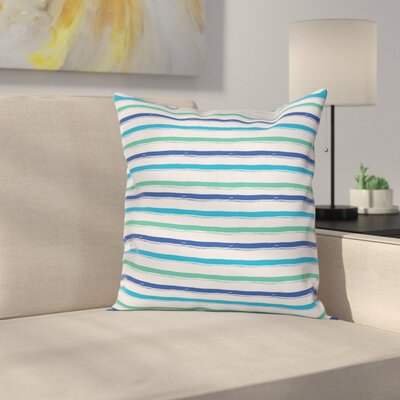 Stripe Brushstrokes Art Square Cushion Pillow Cover Size: 16 x 16