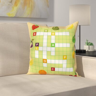 Puzzle Summer Fruit Square Cushion Pillow Cover Size: 16 x 16