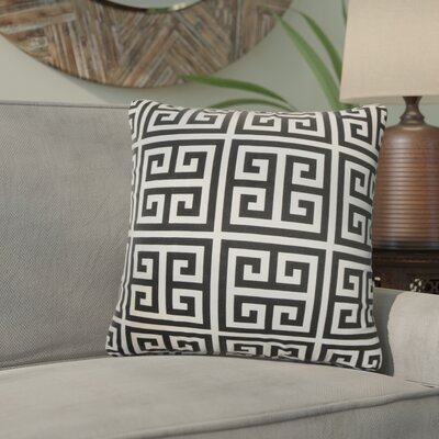Yula Greek Key Cotton Throw Pillow Color: Black