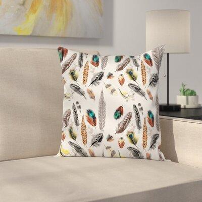 Animal Case Vivid Feathers Vivid Art Square Pillow Cover Size: 16 x 16