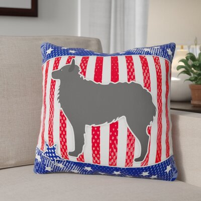 Patriotic USA Croatian Sheepdog Indoor/Outdoor Throw Pillow Size: 18
