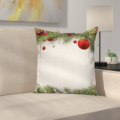 Christmas Bright Baulbes Tree Square Pillow Cover Size: 16 x 16