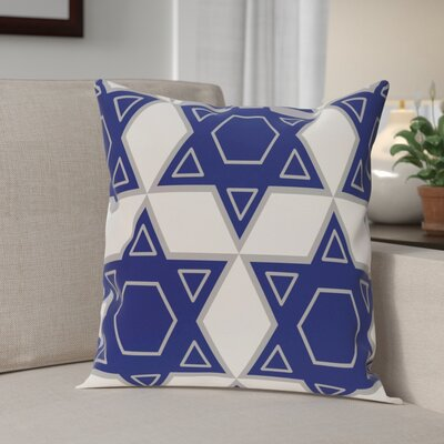 Star of David Quilt Throw Pillow Size: 16 H x 16 W, Color: White/Blue