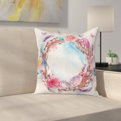 Floral Wreath Feathers Cushion Pillow Cover Size: 18 x 18