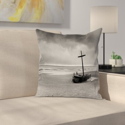 Wreck Boat on the Beach Square Pillow Cover Size: 16 x 16